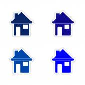 Assembly realistic sticker design on paper houses — Stock Vector