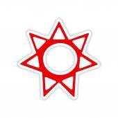 Icon sticker realistic design on paper sun sign — Stock Vector