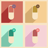 Flat with shadow concept and mobile application pharmaceutical industry — Stock vektor