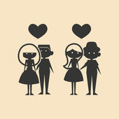 Flat in black and white mobile application couples in love — Stock Vector