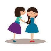 Appartamento con icona ombra e conversazione femminile applicazione mobile — Vettoriale Stock