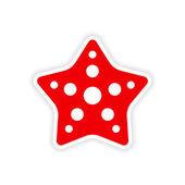Icon sticker realistic design on paper star fish — Stock Vector
