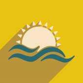 Apartamento com ícone de sombra e aplicação móvel sunset — Vetor de Stock