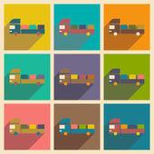 Plano con el concepto de sombra y camiones de reparto de aplicación móvil coche — Vector de stock