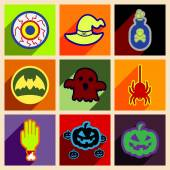 Flat with shadow concept and mobile application halloween icons — Stock Vector