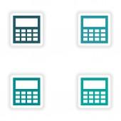 紙電卓にアセンブリ現実的なステッカー デザイン — ストックベクタ