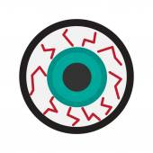 Flat with shadow icon and mobile application eyeball zombies — Stock Vector
