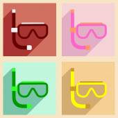 Flat with shadow concept and mobile application scuba mask — Stock Vector