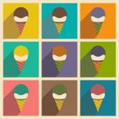 Appartement avec le concept de l'ombre et boule de crème glacée d'application mobile — Vecteur