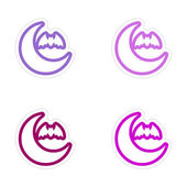Assembly sticker new moon and a bat on white background — Stock Vector
