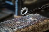 Wedding ring  after goldsmith work. — Stock fotografie