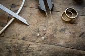 Desk for craft jewelery making — Stock Photo