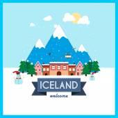 Iceland, Winter Holiday destination flat design — Stock Vector