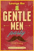 Gentlemen Party. Typography vector poster. — Stock Vector