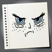 Scribble angry face — Stock Vector