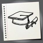 Graduation cap and diploma sign — Stock Vector #70507677