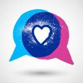 Burbujas de discurso concepto con amor símbolo — Vector de stock