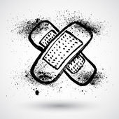 Adhesive bandage. Grunge sign — Stock Vector