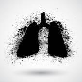 Símbolo del grunge de los pulmones — Vector de stock