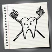 Tand och tandborste tecken — Stockvektor