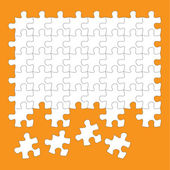 Jigsaw puzzle pieces white on orange background — Stock Vector