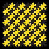 Yellow jigsaw puzzle pieces on black background — Vecteur