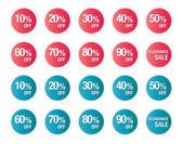 Sada procento slevy, prodej symbolu — Stock vektor