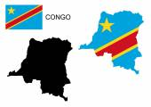 Congo map and flag vector, Congo map, Congo flag — Stock Vector