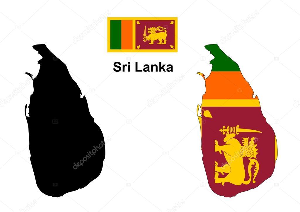 斯里兰卡地图和国旗矢量
