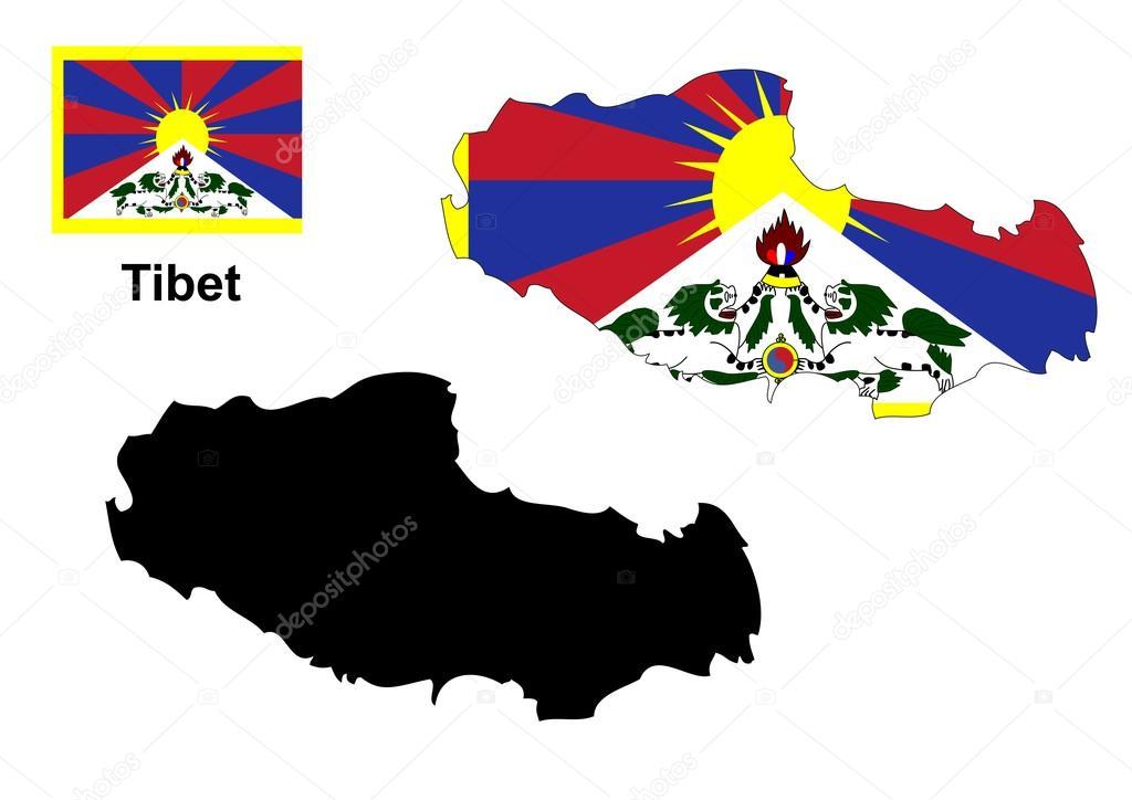 西藏地图和国旗矢量,西藏地图