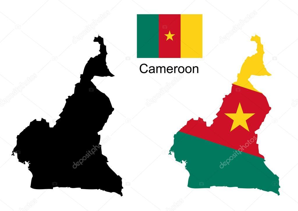 喀麦隆地图和国旗矢量