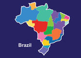 Brazil colorful map in blue background, brazil map vector, map vector — Stock Vector