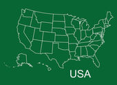 USA map in green background, usa map vector, map vector — Stock Vector