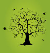 Floral tree vector on green background — Stockvektor