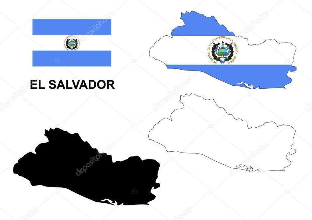 萨尔瓦多地图矢量,萨尔瓦多国旗矢量,孤立萨尔瓦多