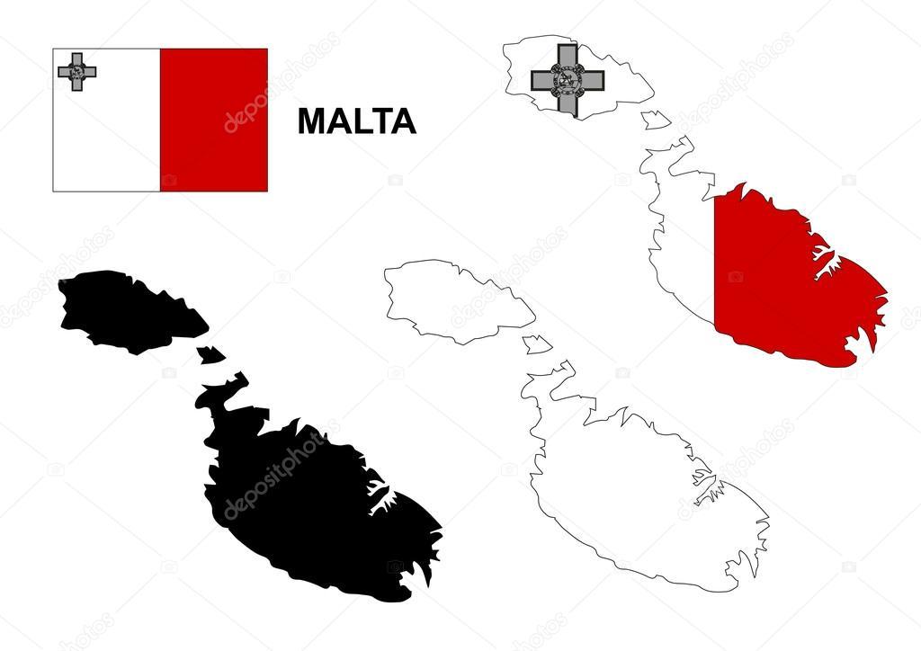 马耳他地图矢量,马耳他国旗矢量