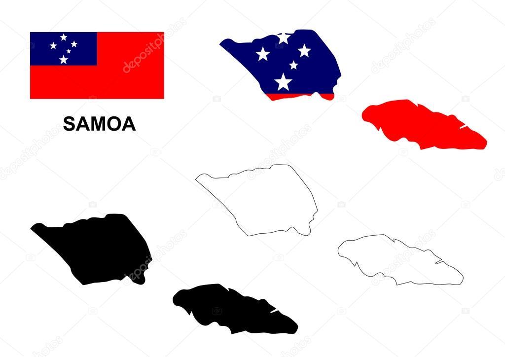 萨摩亚地图矢量,萨摩亚国旗矢量