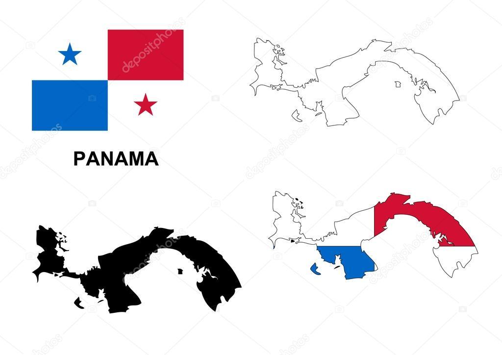巴拿马地图矢量,巴拿马国旗矢量,孤立巴拿马