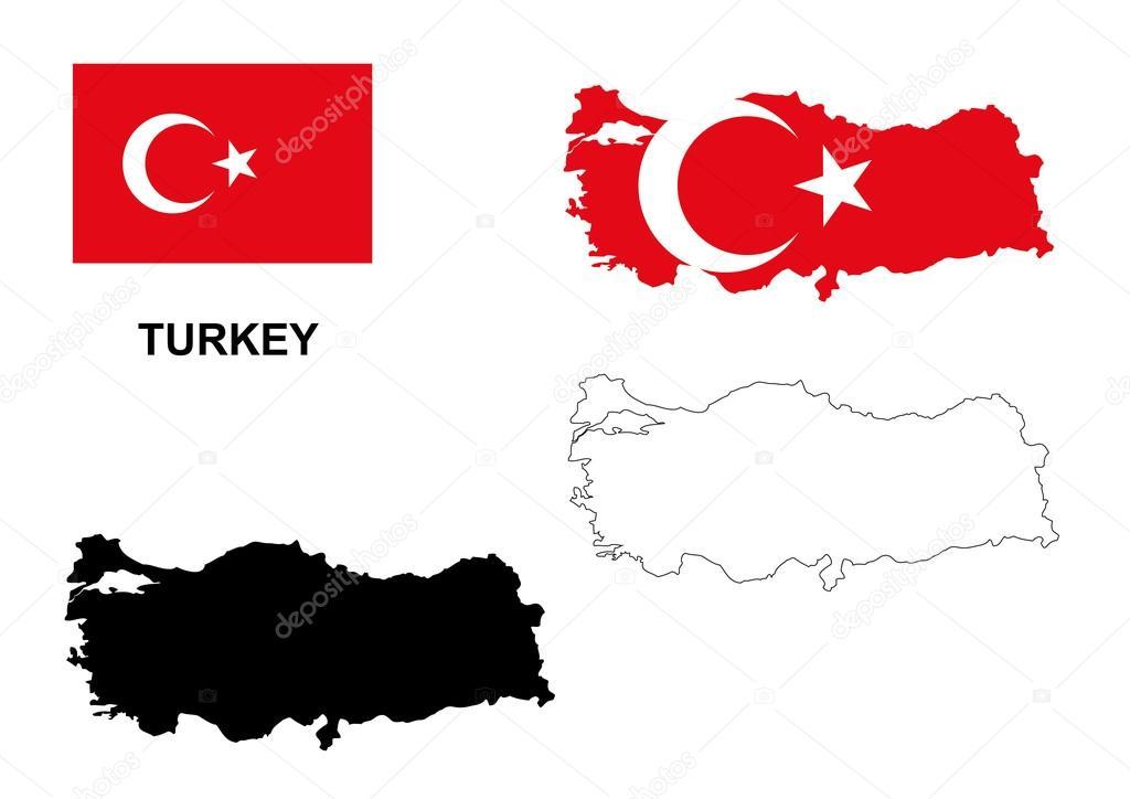 土耳其地图矢量,土耳其国旗矢量