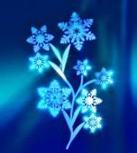 マジック氷花の葉を暗い青の輝く不均質に代わりに雪の結晶 — ストック写真