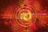 Perturbation of the atomic nucleus and elementary particles in an unstable state in the form of a raging fireball scrolling spiral — Stock Photo