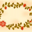 Frame with red flowers in the shape of an wreath on old paper — Stock Vector #71782651