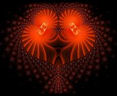 Symbolic diamond heart-shaped red heart that symbolizes love.Fractal art graphics — Stock Photo