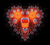 Symbolic diamond heart-shaped red heart that symbolizes love. Fractal art graphics — Foto de Stock