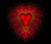 Symbolic diamond heart-shaped red heart that symbolizes love. Fractal art graphics — Foto de Stock