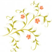 Pattern in the form of red flower branch. EPS10 vector illustration — Stock Vector