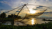 Fishermen pull net in the flood season, Chau Doc, An Giang — Stock Photo