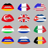 Illustration with set of lips and flags — Stock Vector