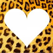 Illustration with heart frame and leopard skin — Vector de stock