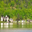 Palace on the lake Hallstatter in Austrian Alps. — Stock Photo #75453409